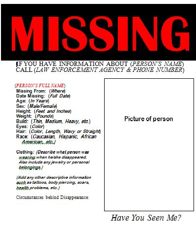 21 Free Missing Poster Word Excel Formats Missing Poster Template Word