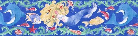 Wall Border Anak Murah Mermaid underwater friends mermaid wallpaper border ig75182b