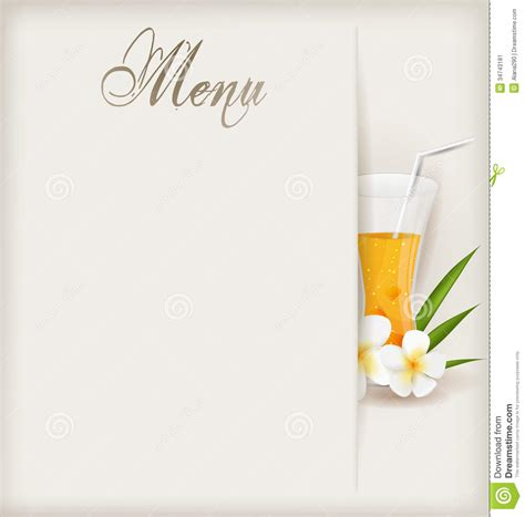 juice menu card templates menu template with glass of orange juice stock vector