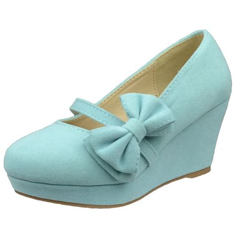 dress shoes platform wedge bow accent closed toe