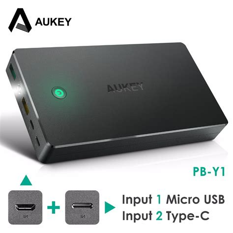 Aukey Power Bank 20000mah 2 Port Qc 20 Pb T5 Black aukey 20000mah power bank external battery dual usb qc 2 0