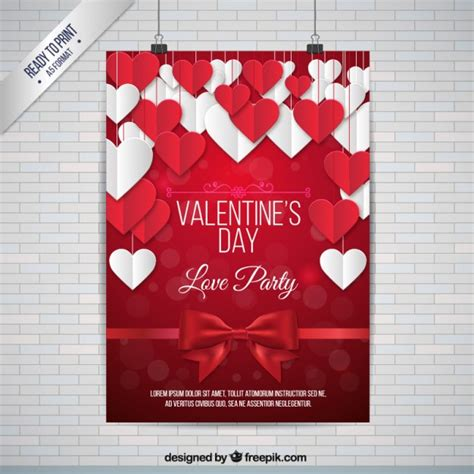 valentines poster white and hearts poster vector