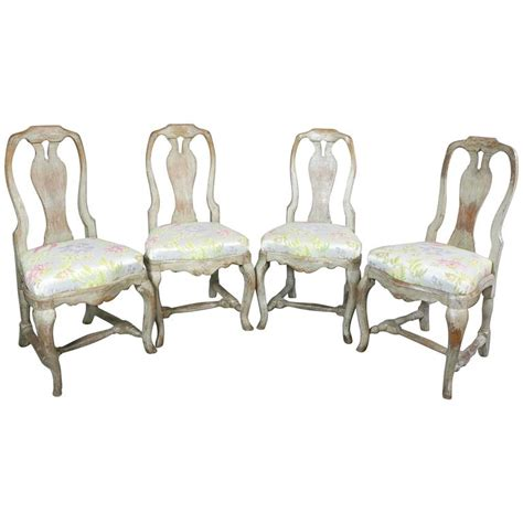 Rococo Dining Chairs Set Of Four Swedish Rococo Painted Dining Chairs For Sale At 1stdibs