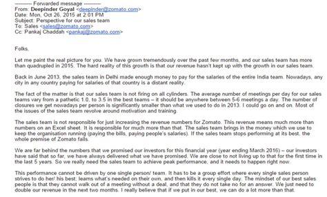 email zomato zomato falling short of revenue targets deepinder goyal