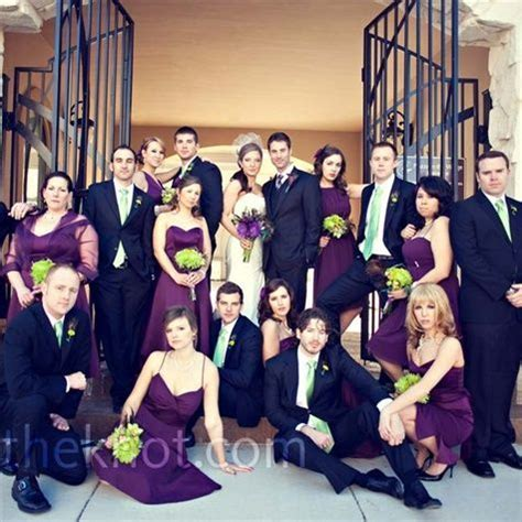 Abby?s eight bridesmaids wore purple dresses in different
