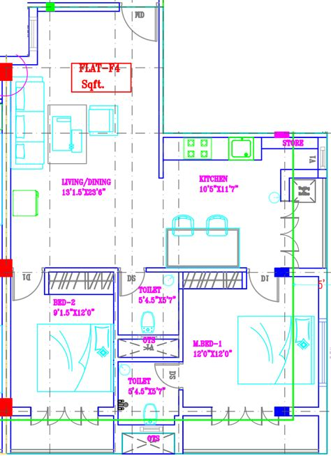 tara floor plan 1240 sq ft 2 bhk 2t apartment for sale in svp developers