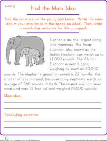 find the main idea elephant worksheet education com