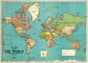 Paper World Map by Stunning Vintage Repro World Map By Cavallini