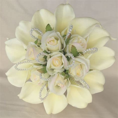 Bridal Posy by Bridal Posy Bouquet Ivory Cala Lilies Roses Artificial