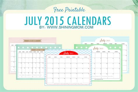 free online printable calendar july 2015 cute calendars for july 2015 free