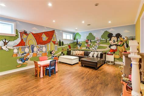 living room with mickey mouse decorative wall theme 3829