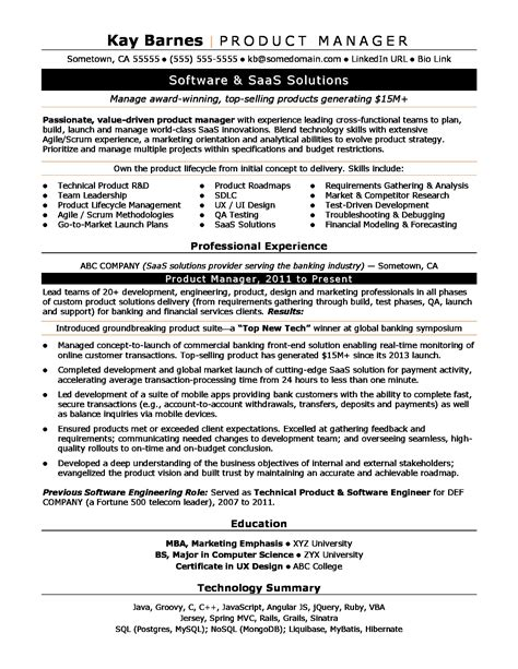 product manager resume product manager resume sle
