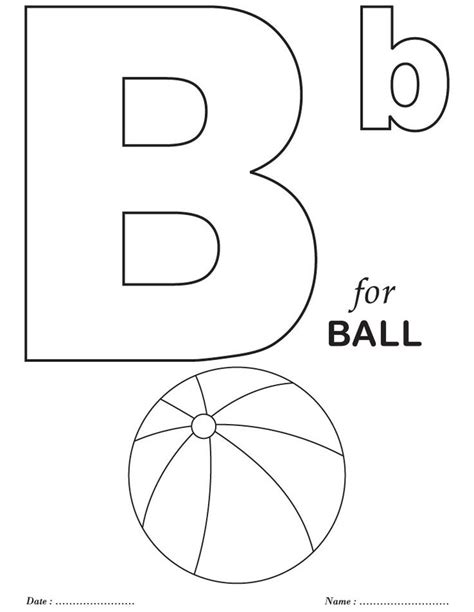 free printable letter coloring pages b is for ball