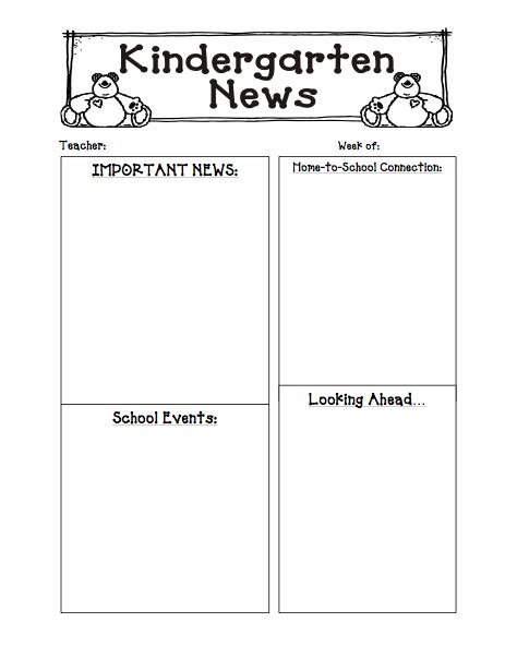 free newsletter templates for preschool 6 best images of s kindergarten monthly newsletter