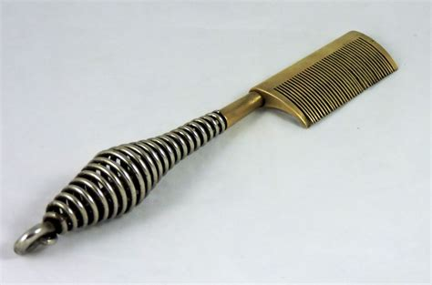 straightening comb for black hair vintage brass iron hair straightening comb from