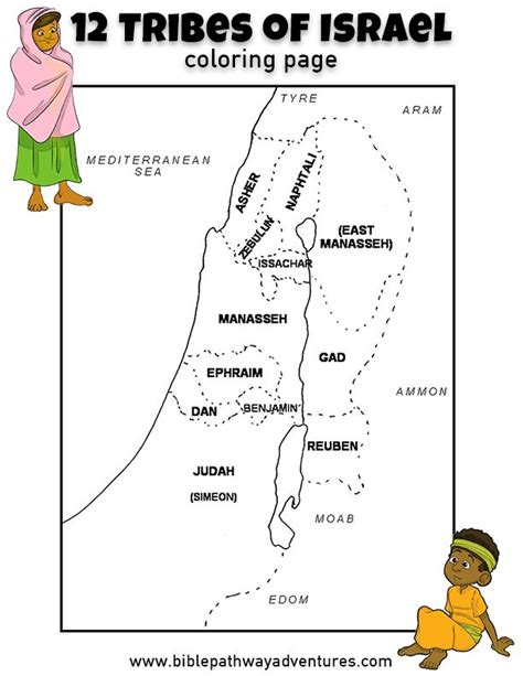 coloring page map of israel printable coloring page 12 tribes of israel free