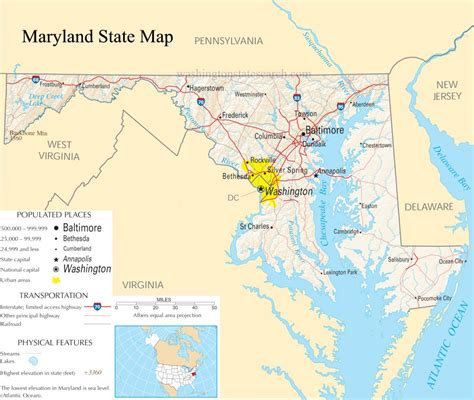 Maryland Finder Maryland State Map A Large Detailed Map Of Maryland State Usa