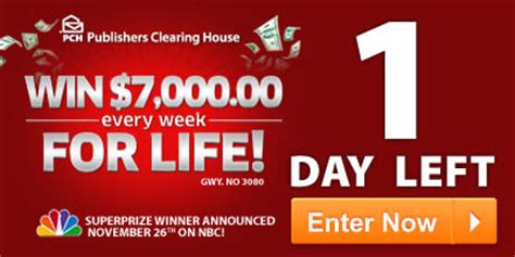 Pch For Life - last day to enter for 7 000 a week for life pch blog