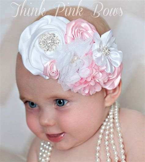 baby headband baby headbands baby from magaro baby headbandwhite and pink floral headband baby by