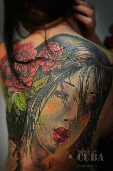 tattoo de geisha en espalda tatuaje japoneses espalda geisha por cuba tattoo