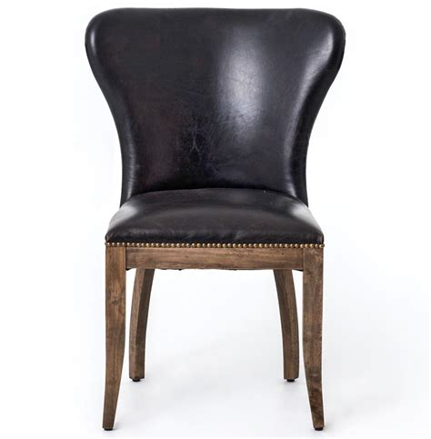 Top Grain Leather Dining Chairs Cornelius Top Grain Cigar Black Leather Weathered Oak Dining Chair Pair Kathy Kuo Home