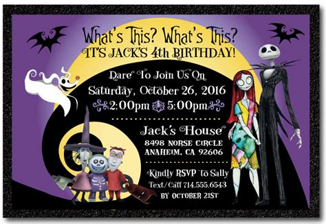 Nightmare Before Christmas Birthday Invitation Di 346 Harrison Greetings Business Greeting Nightmare Before Invitations Templates Free