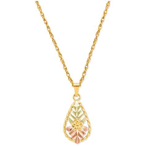 Leaf Flower Necklace black gold 10k solid leaf flower pendant necklace