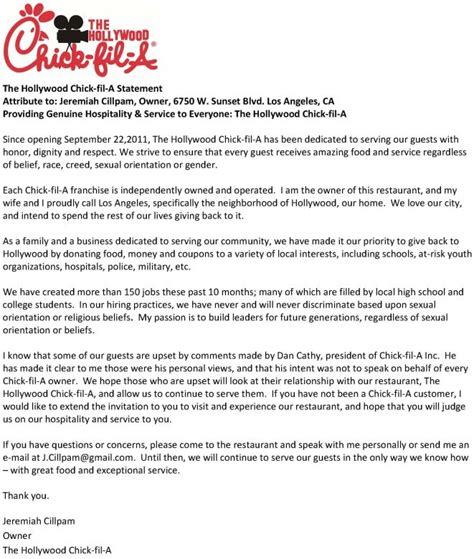 Letter Of Intent Sle For Franchise Fil A Provided Franchises With A Cut And Paste Form Letter In Response To Backlash Eater
