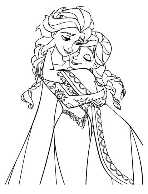 elsa snowflake coloring page anna hugging elsa the snow queen coloring pages coloring sky