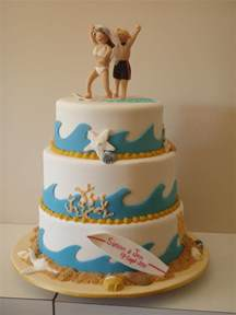 Nautical Themed Wedding Cake Toppers - the little oak tree surfing couple wedding cake beach theme