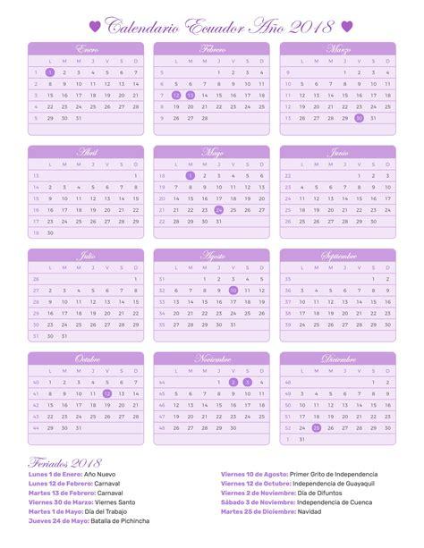 Ecuador Calend 2018 Calendario Ecuador A 241 O 2018 Feriados 2018