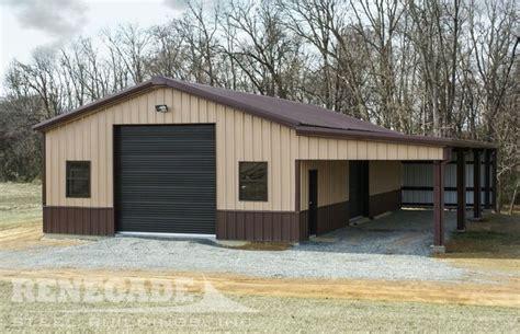 tan metal building  brown trim wainscot  doors