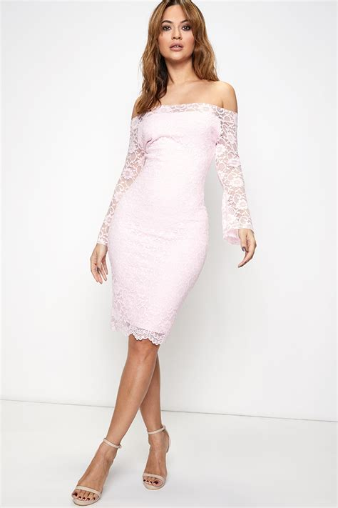 pink lace bardot midi dress