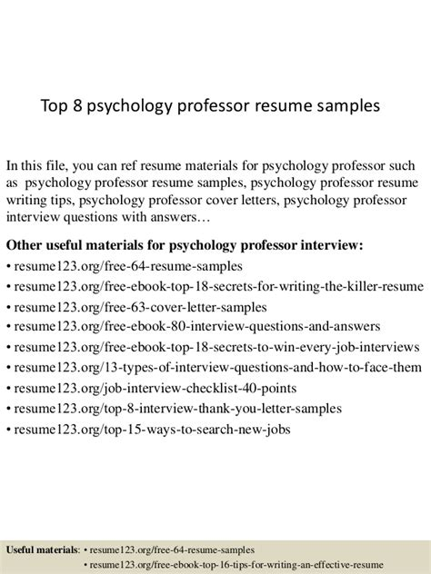 Top 8 psychology professor resume samples