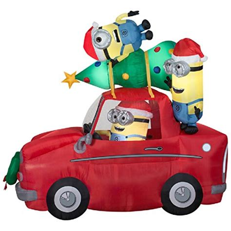 4 ft waterproof inflatable christmas tree decoration lawn christmas inflatable minions in car with christmas tree 7