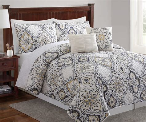 Yellow And Gray Quilt Sets by Living Colors Arya Gray Yellow Blue 5 Quilt Sets