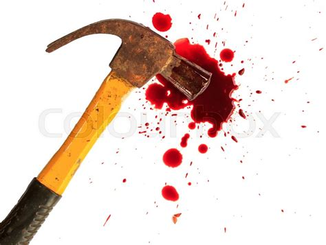 Bloody Hammers a up of a bloody hammer and small blood on white