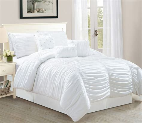 White Bed Set by 7p Royal White Ruched Comforter Set Bed In A Bag
