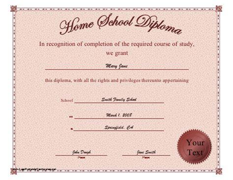 homeschool diploma certificate template free