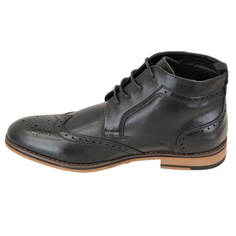 voeut mens sava brogue ankle leather look boots black