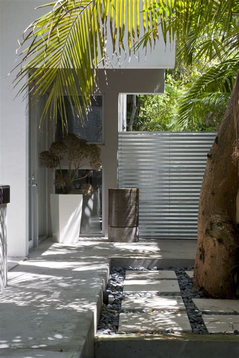 simple modern house  natural environment courtyard