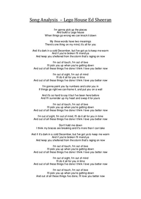 song analysis lego house ed sheeran
