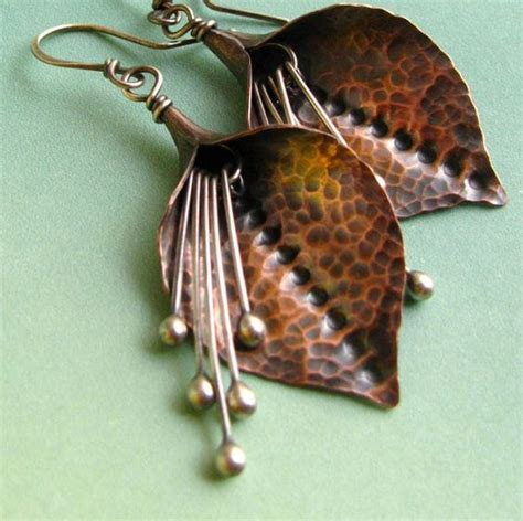 Jam 8473 Silver flower earrings copper and sterling silver mixed