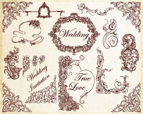 Wedding Border Photoshop Brushes by 10 Photoshop Vector Decoration Images Free