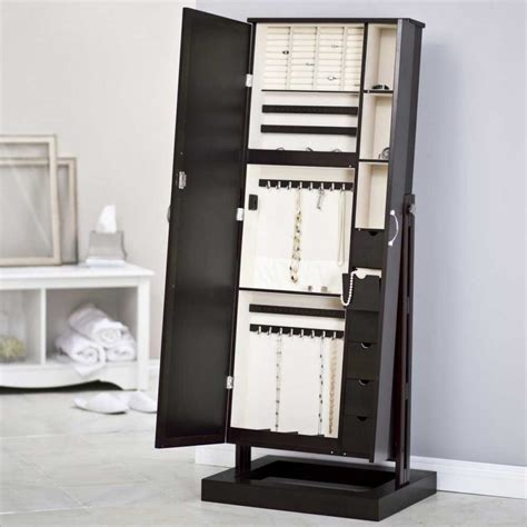 Length Mirrored Jewelry Armoire by Standing Jewelry Cabinet Caymancode