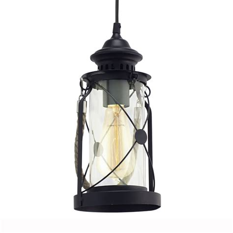 Eglo 49213 Bradford Black Lantern Style Pendant Light Black Lantern Pendant Light