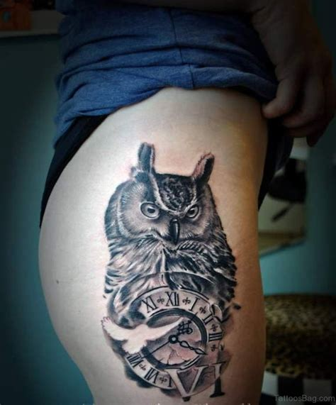 owl with clock tattoo 50 top class clock tattoos on thigh