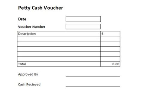petty receipt voucher template petty free petty excel template