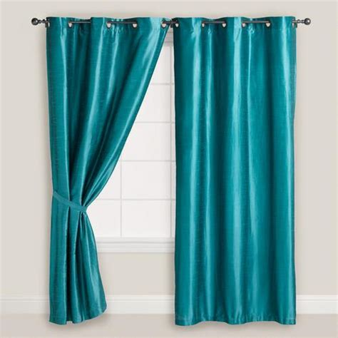 Teal Blue Curtains Aegean Blue Dupioni Grommet Curtain World Market