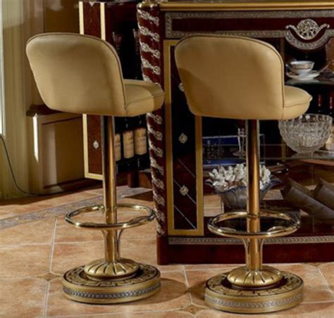 Beige Leather Bar Stools by Pair Of 2 Brass Genuine Beige Leather Bar Stools Ebay